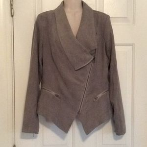 lightweight faux suede asymmetrical zip jacket